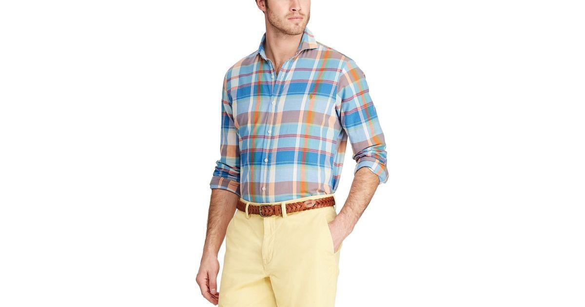 fdff0e9c Polo Ralph Lauren Classic Fit Button - Down Madras Shirt in Blue for Men -  Save 38% - Lyst