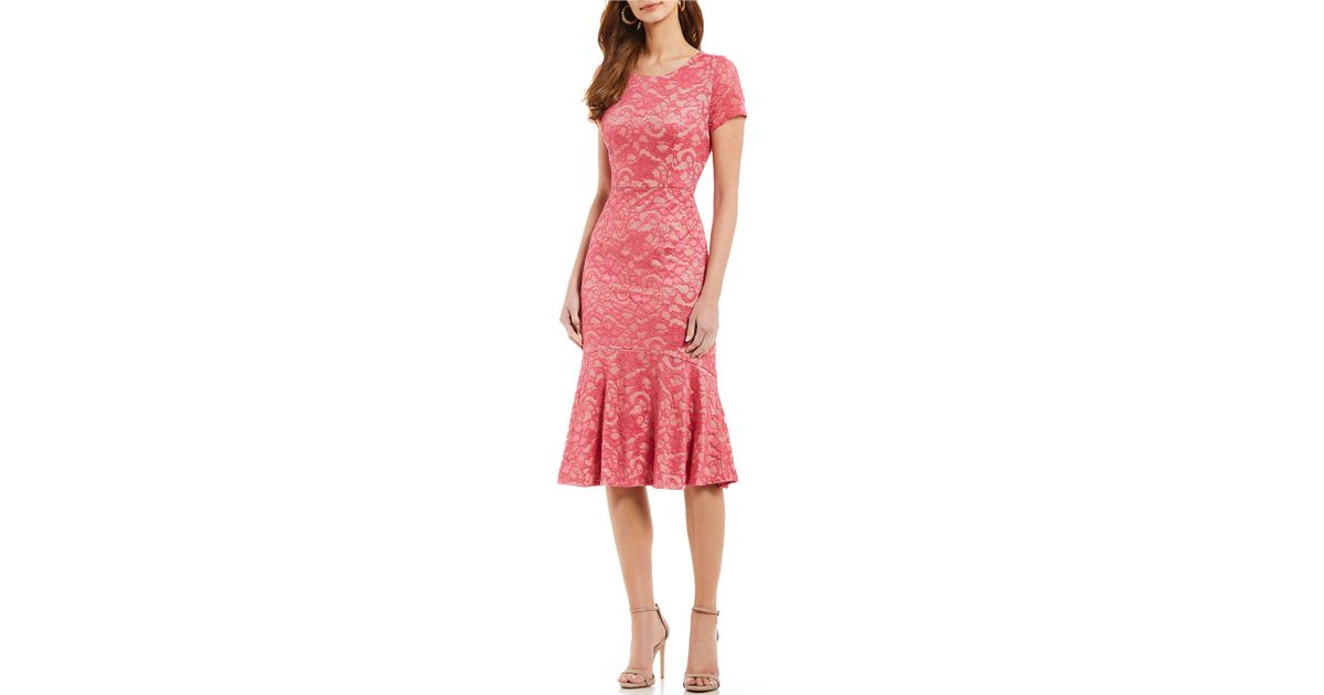 aef7df61 Ivanka Trump Embroidery Mesh Shift Dress in Pink - Lyst
