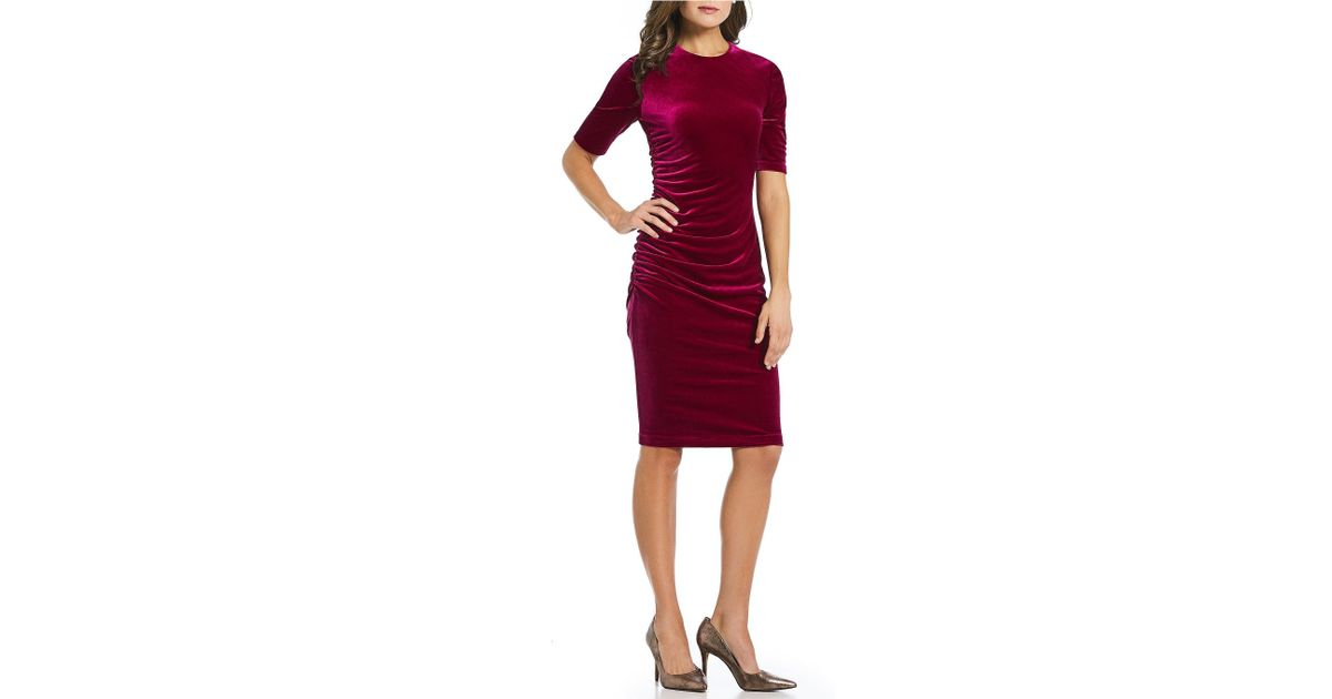 123a916103d Lyst - Vince Camuto Velvet Ruched Midi Dress in Red