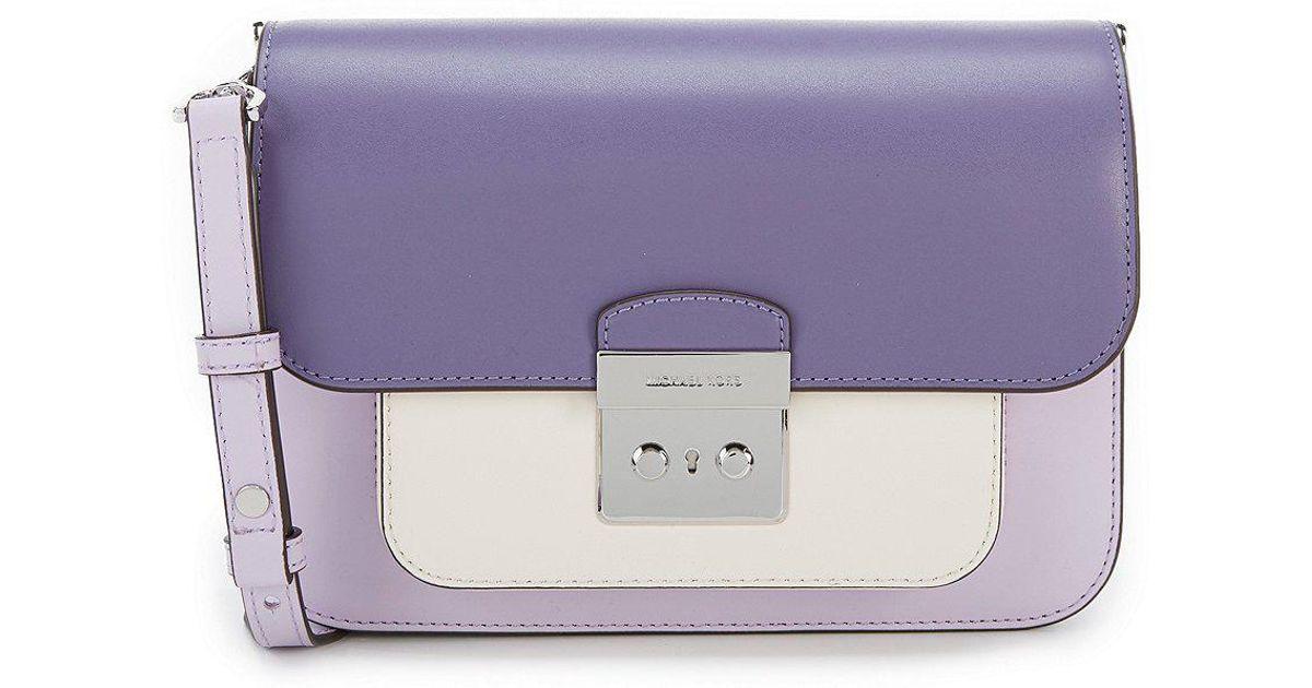 d0913c595eae Lyst - MICHAEL Michael Kors Sloan Editor Colorblock Shoulder Bag in Purple