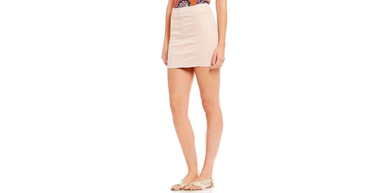 8854db586 Free People Modern Femme Denim Mini Skirt in Pink - Lyst