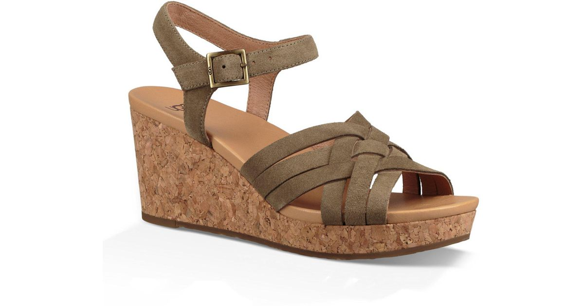 36881931e98 Ugg - Brown Uma Suede Wedge Sandals - Lyst