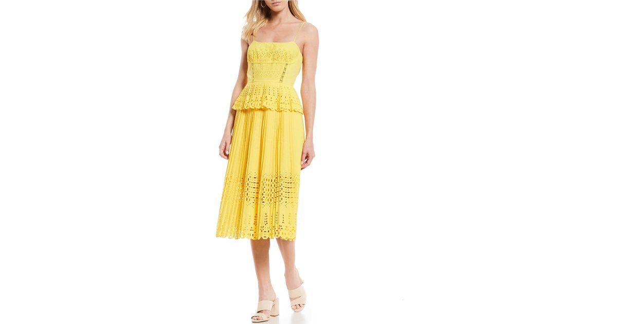 5c95d7b285 Lyst - Gianni Bini Lana Eyelet Peplum Spaghetti Strap Midi Dress in Yellow