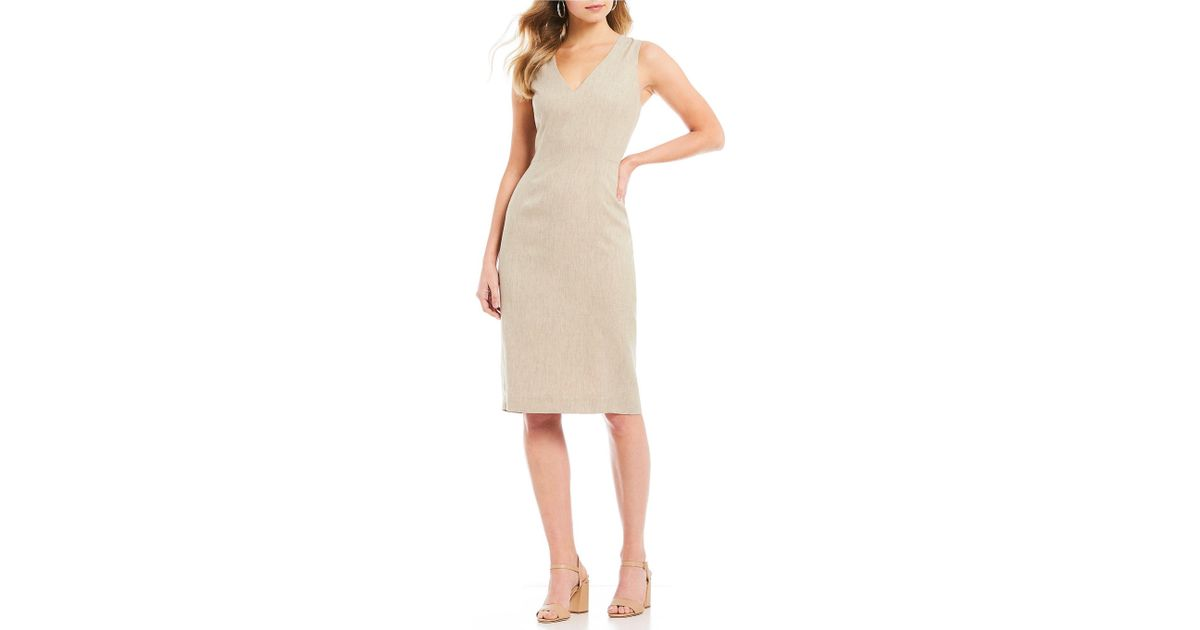106c47b9735 Antonio Melani Luca Sleeveless V-neck Sheath Dress in Natural - Lyst