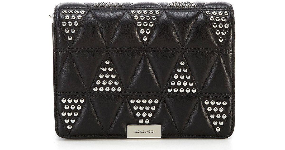 Jade Quilted Medium Gusset Clutch in Black Pyramid Quilted Lamb Michael Michael Kors fhoHdPWW