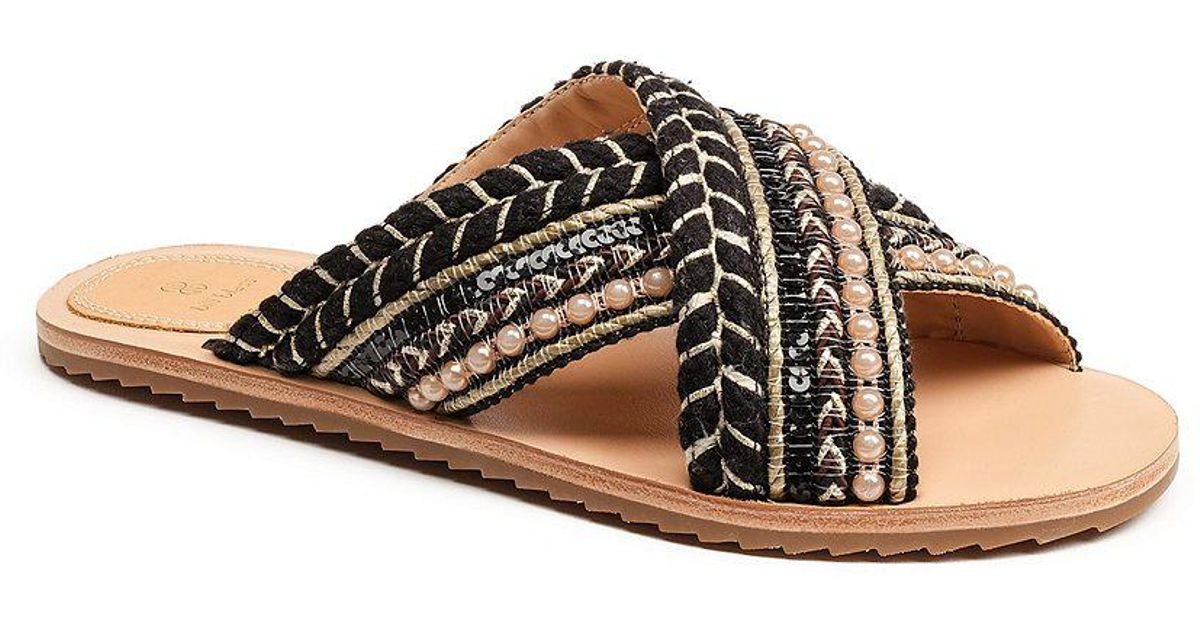 Bill Blass Jaden Woven Pearl Beaded Cross Band Slide Sandals ZBjViqs3SE
