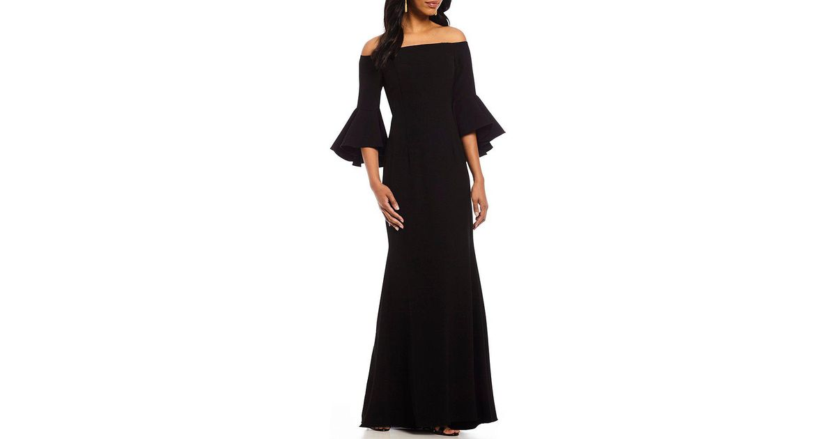 cea7dd973af38 Vince Camuto Off-the-shoulder Bell Sleeve Gown in Black - Lyst