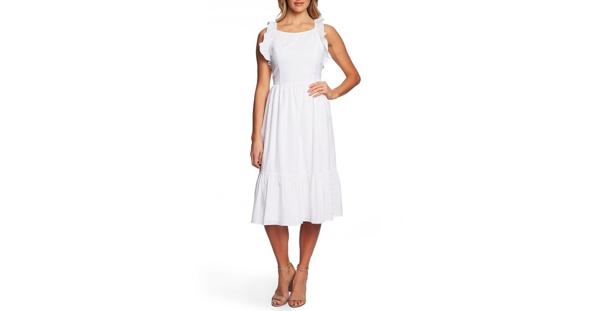 b03fd4f4752 Lyst - Cece Sleeveless Ruffled Eyelet A-line Midi Dress in White