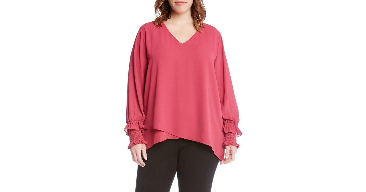 025421f3ab9 Lyst - Karen Kane Plus Size Smocked Poet Sleeve Crossover Top in Pink