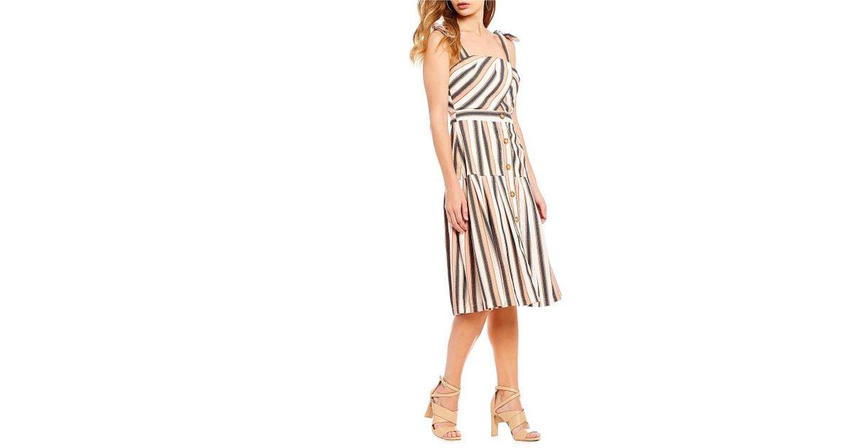 76e846b5e2 Gianni Bini Taylor Stripe Button Front Midi Dress - Lyst