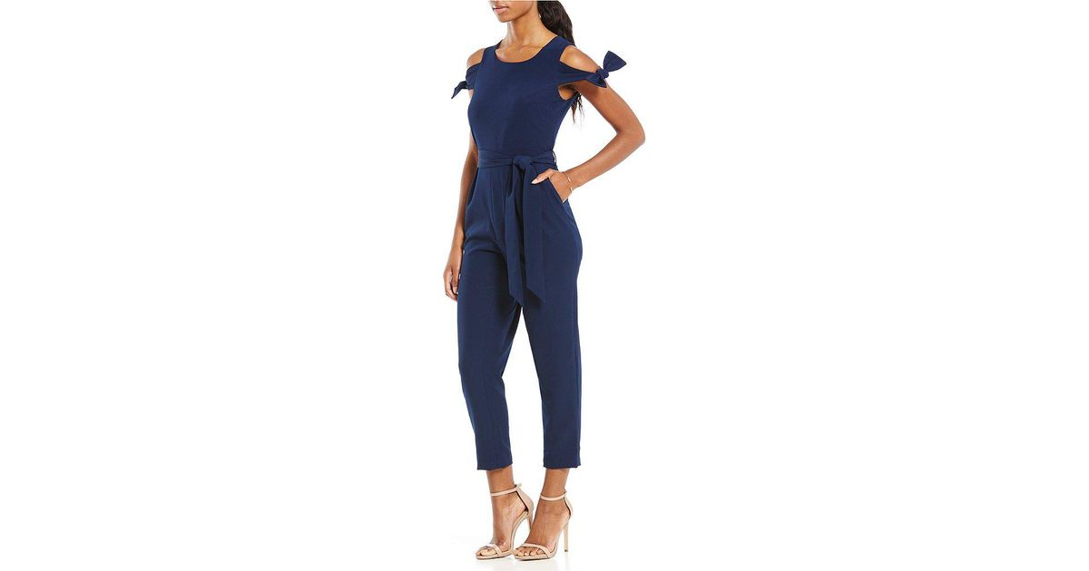 5cff284cd1a Lyst - Maggy London Tie Shoulder Crop Jumpsuit in Blue