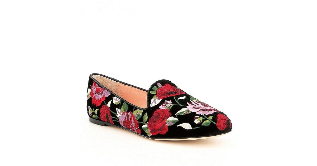 e77eae51be80 Lyst - Kate Spade Swinton Floral Loafers in Black
