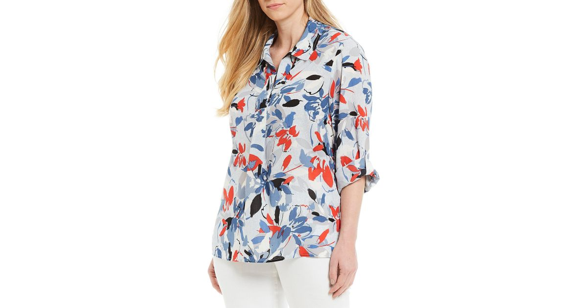 76cca03753 Lyst - Jones New York Plus Size Popover Button Back Shirt in Blue