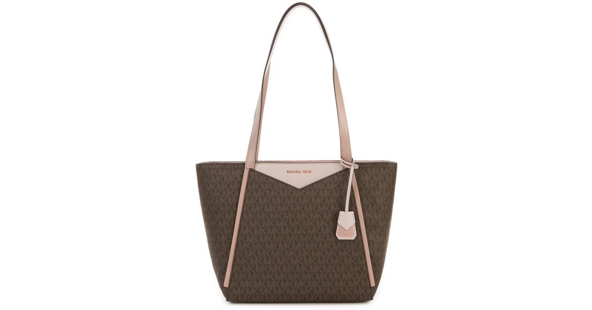 b05654161391 MICHAEL Michael Kors Whitney Signature Top-zip Colorblock Tote in Brown -  Lyst