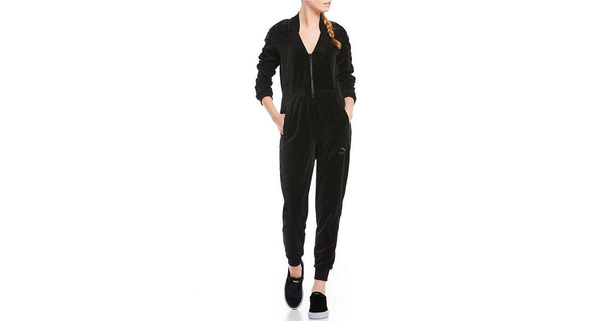 a226e91b4be Lyst - PUMA Velour T7 Jumpsuit in Black