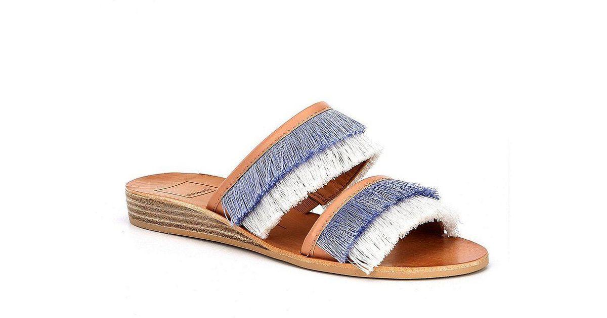 9f99c741c70 Lyst - Dolce Vita Haya Banded Fringe Wedge Sandals in Natural
