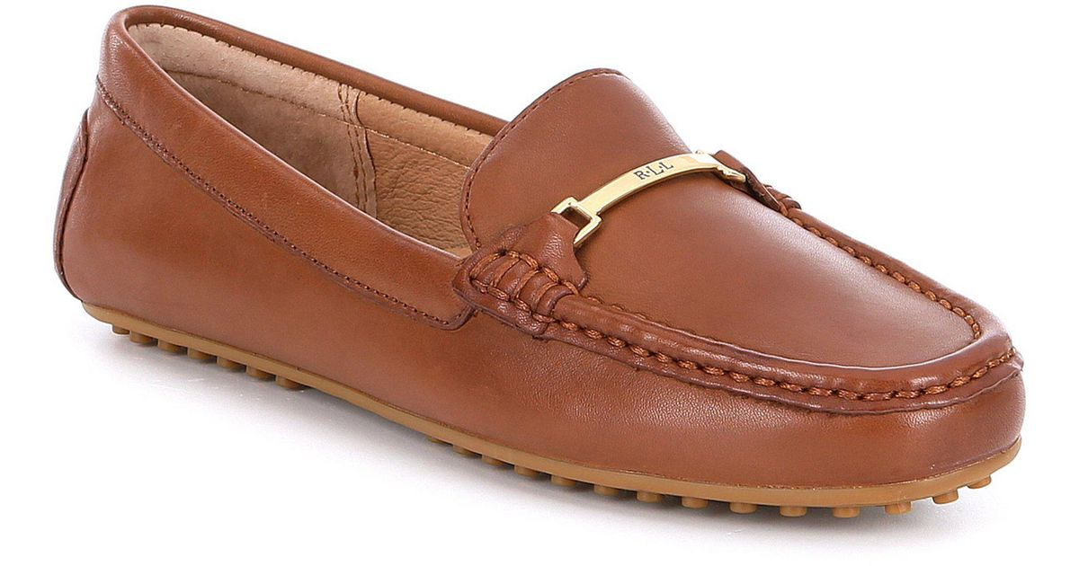 662811482ecb Lauren by Ralph Lauren Briony Leather Driving Loafers in Brown - Lyst