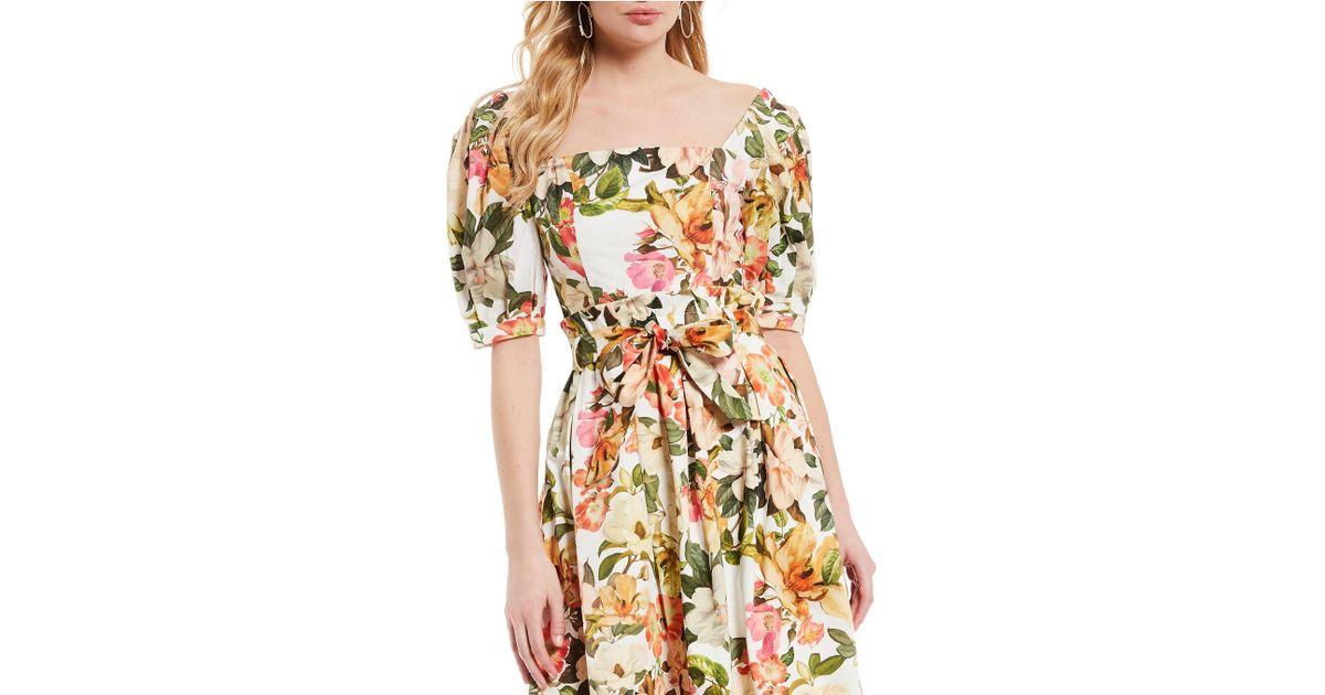 85edc407bcd2 Antonio Melani Floral Print Square Neck Puff Sleeve Cynthia Blouse - Save  66% - Lyst