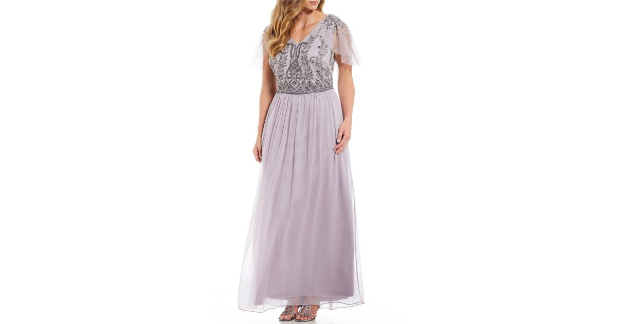 b50f7da297 Adrianna Papell Plus Size V-neck Flutter Sleeve Beaded Bodice Gown in Gray  - Lyst