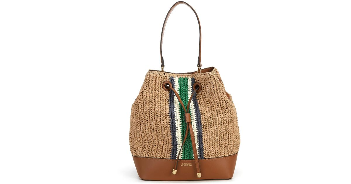 ef37ba87ef Lyst - Lauren by Ralph Lauren Debby Straw Medium Drawstring Bag