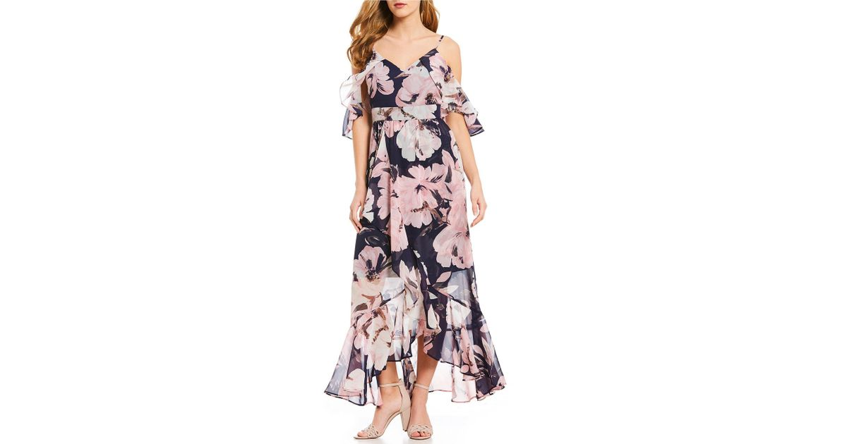 b49cffb86b4d83 Lyst - Vince Camuto Chiffon Maxi Floral Print Cold Shoulder Hi-low Hem Dress  in Blue