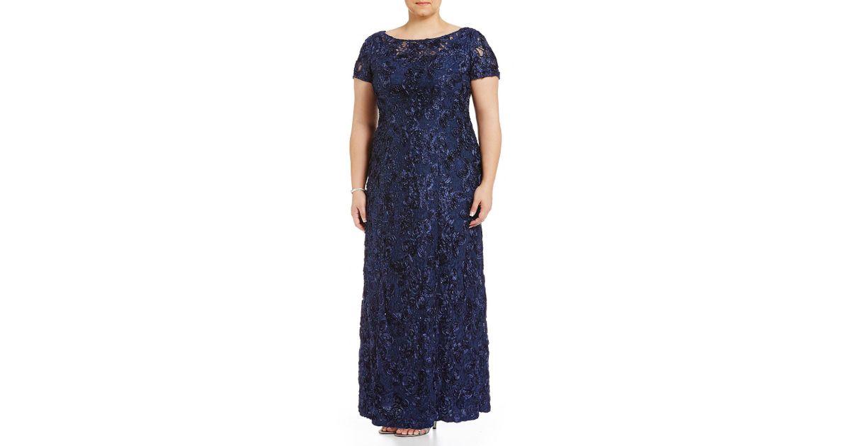 599ef43bec9a Alex Evenings Plus Size Floral Rosette Short Sleeve A-line Gown in Blue -  Lyst