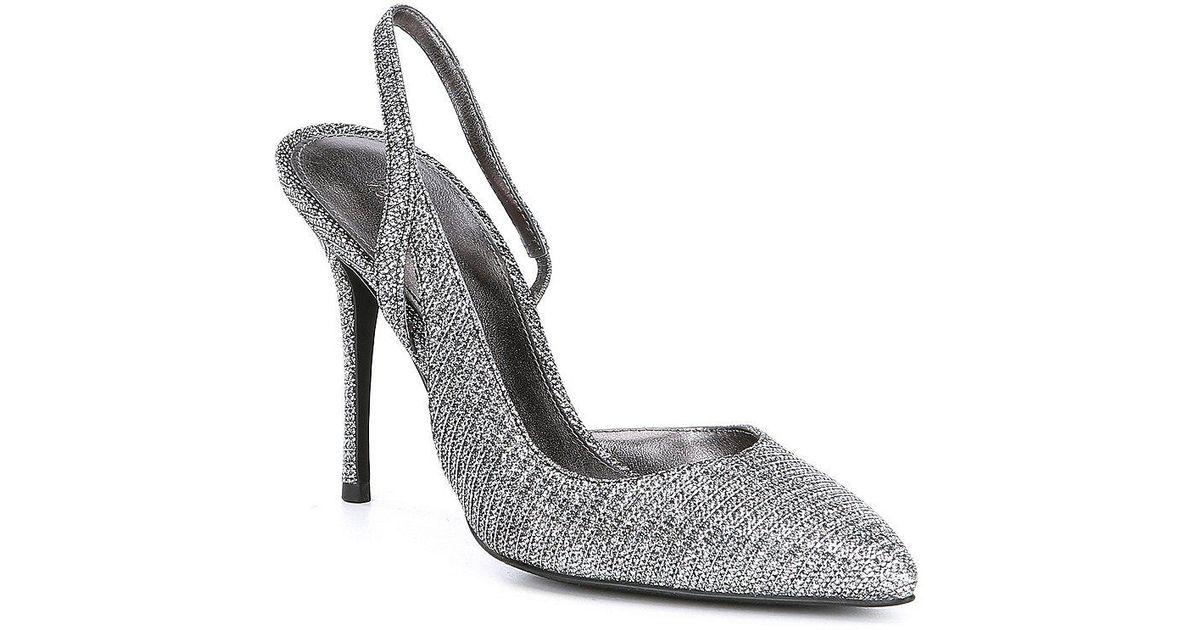 1aa55e4194e Lyst - MICHAEL Michael Kors Eliza Metallic Glitter Fabric Slingback Dress  Pumps in Metallic