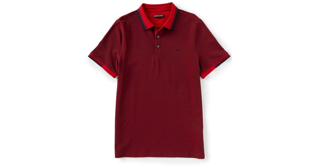 8c7910c7c78728 Michael Kors Outside Greenwich Short-sleeve Polo Shirt in Red for Men - Lyst
