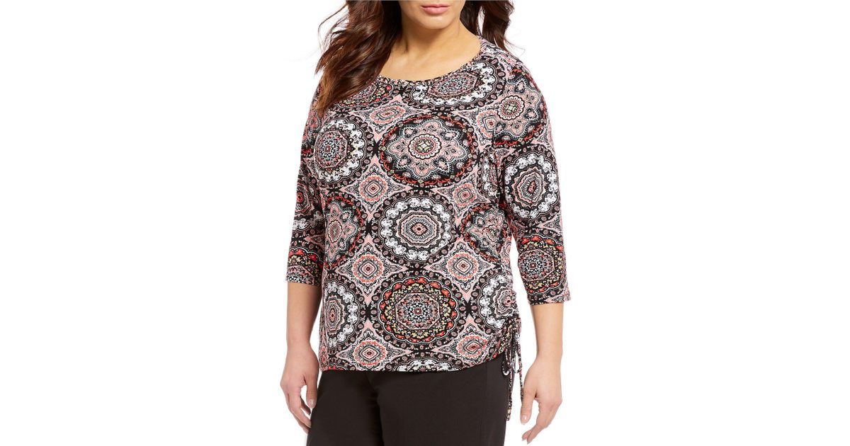 d1c811c8bbf Lyst - Ruby Rd Plus Size Embellished Medallion Print Side Ruched Knit Top  in Black