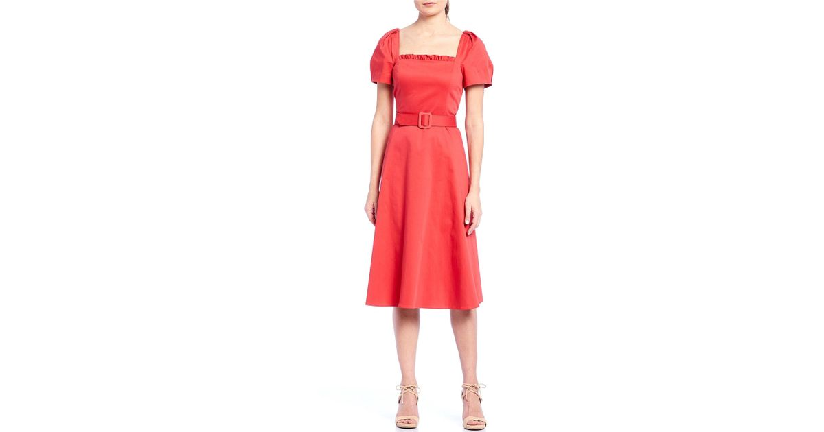ae6b49a2895b Lyst - Antonio Melani Lara Square Neck Puff Sleeve Belted A-line Midi Dress  in Red