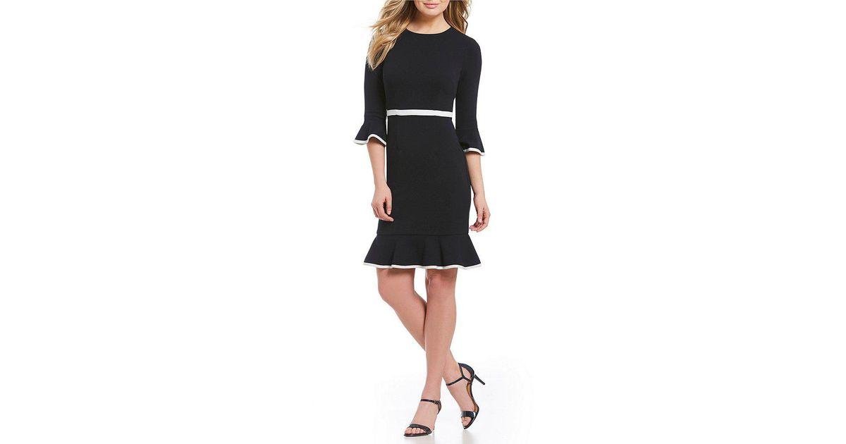b1ffbf14980 Lyst - Donna Morgan Bell Sleeve Contrast Piping Ruffle Hem Dress