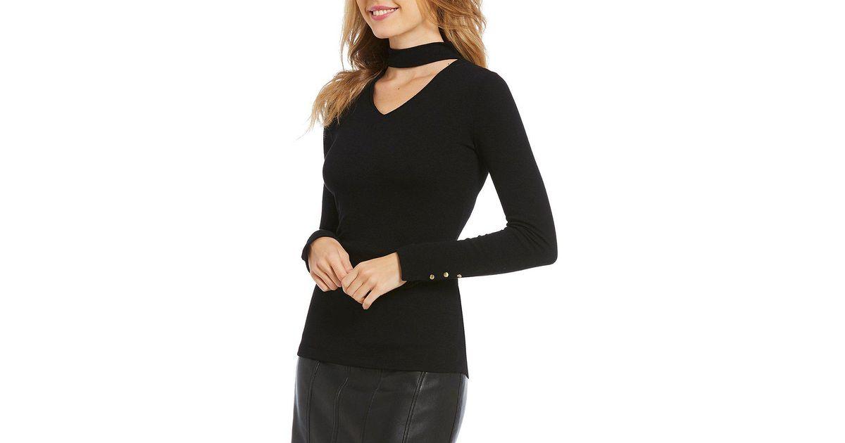 504420e5cb552d Ivanka Trump Choker V-neck Fine Gauge Knit Sweater Top in Black - Lyst