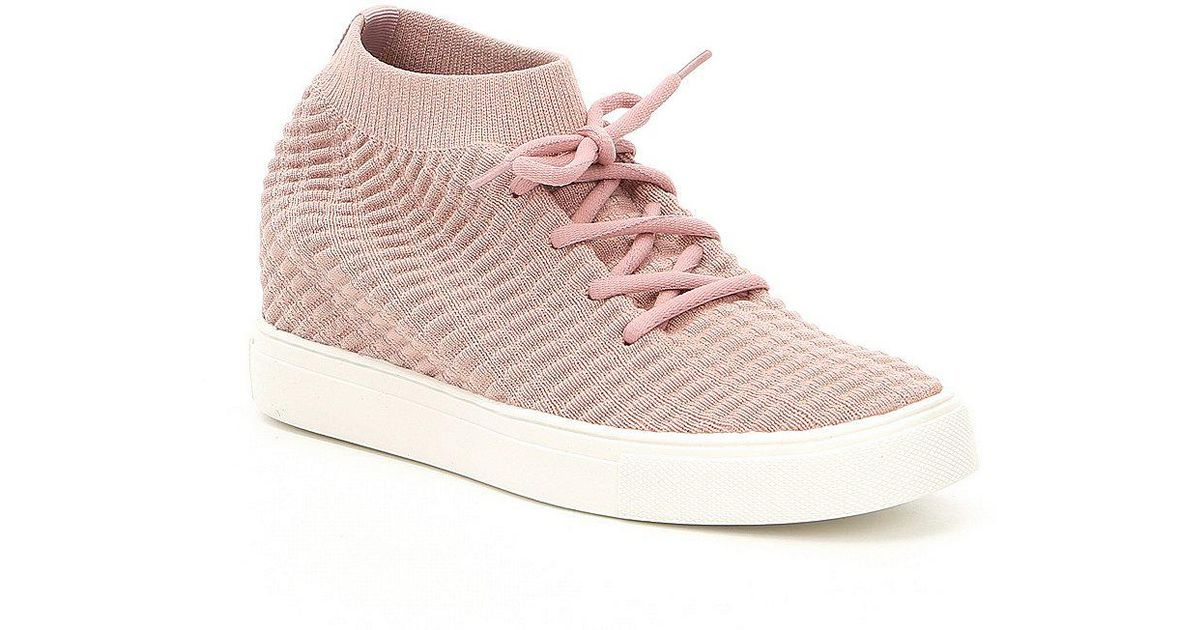 4e352f93d1f3 Lyst - Steve Madden Steven By Carin Wedge Sneakers in Gray