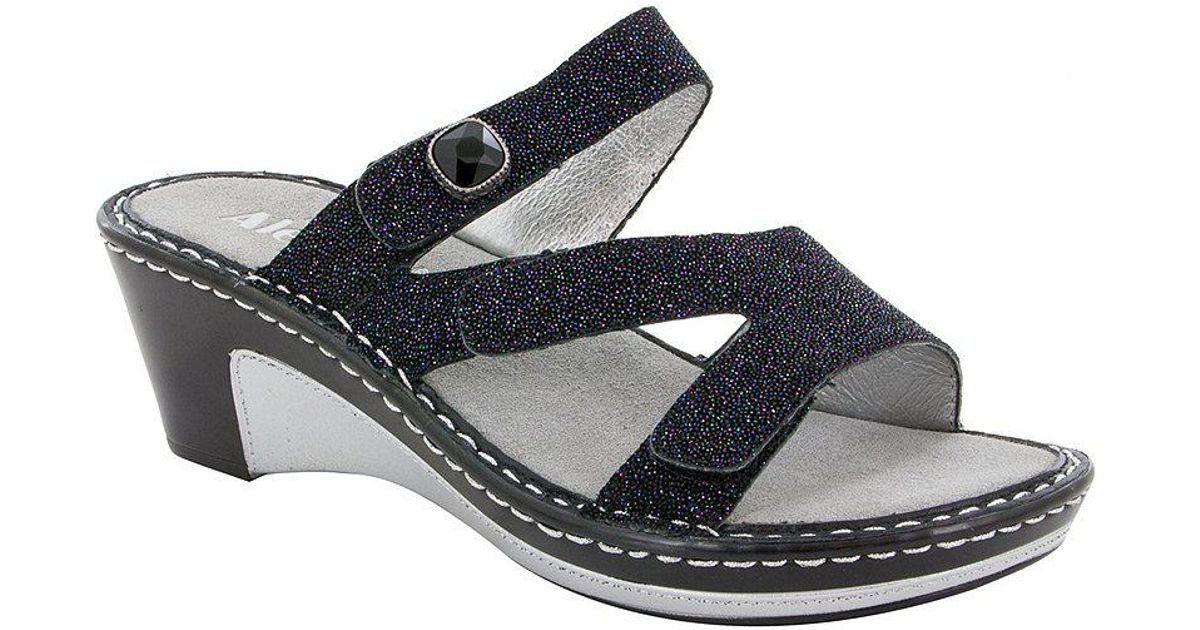 Alegria Loti Glittery Leather Wedge Slide Sandals FArJqCcij