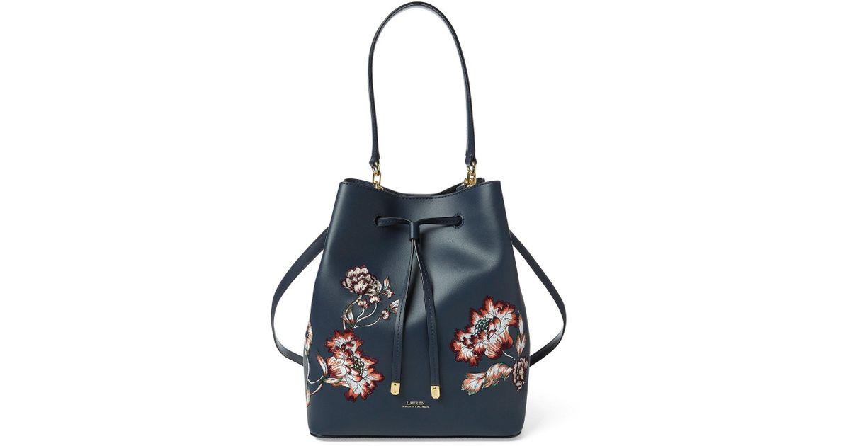 Lyst - Lauren by Ralph Lauren Dryden Debby Drawstring (navy Autumn Blooms)  Handbags in Blue 282dddf48c3fb