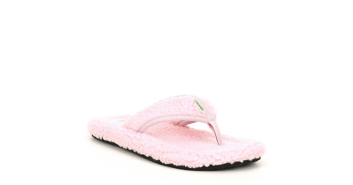 f7ab5c93 Lyst - Sanuk Furreal Classic Chill Faux Fur Flip Flops in Pink