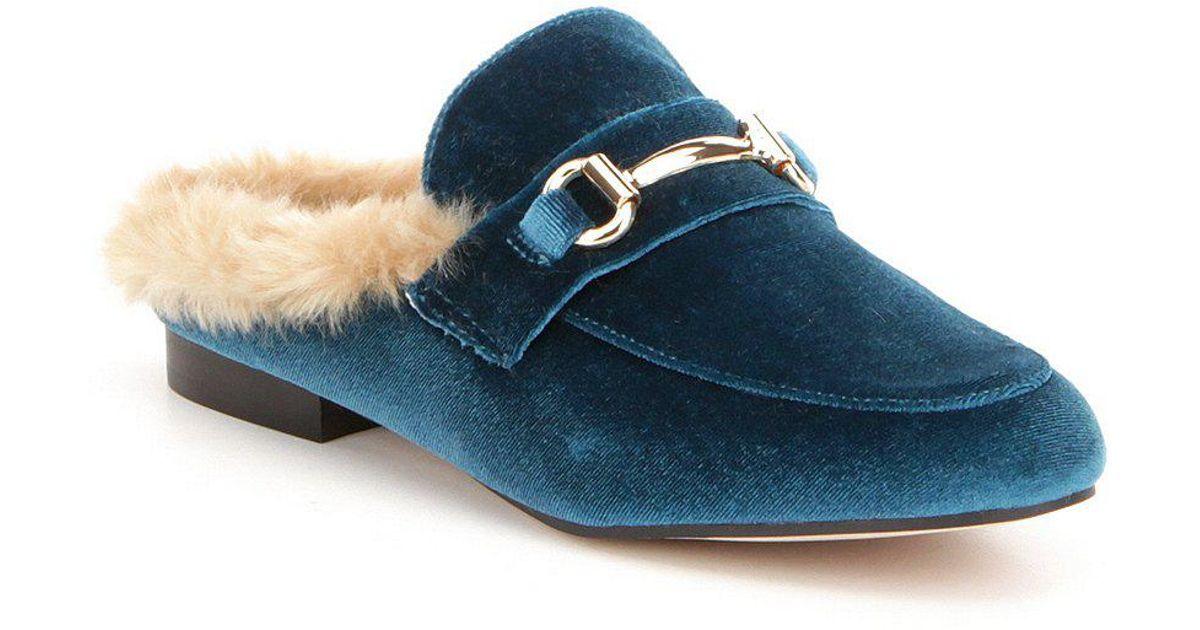 bf05cbc848a Lyst - Steve Madden Jill Velvet Faux Fur Lined Slip On Dress Mules in Blue