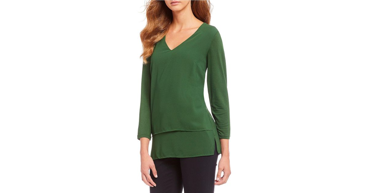 109a1aec8c MICHAEL Michael Kors Mixed Woven And Knit Layered Hem Top in Green - Lyst