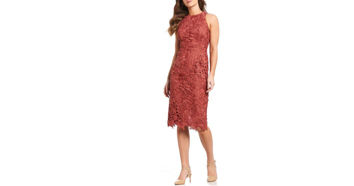 7541ad1fb8f Antonio Melani Peggy Cut-out Lace Sleeveless Midi Dress in Red - Lyst
