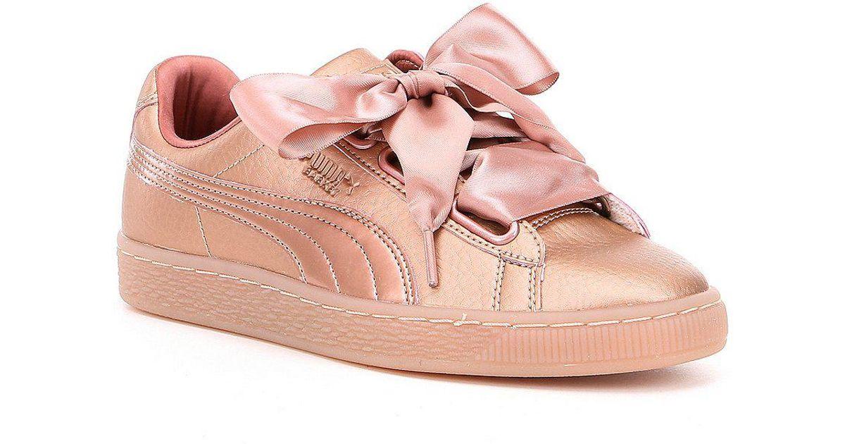 8b86c295231 Lyst - PUMA Basket Heart Copper Sneakers in Pink