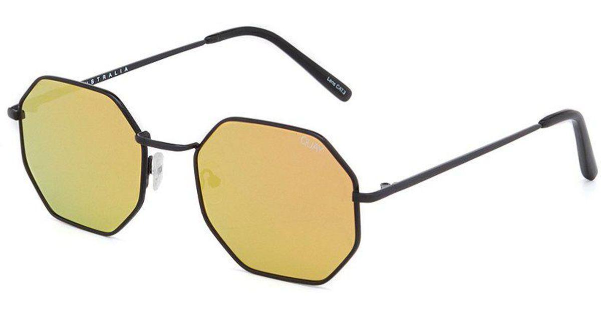 8fe98db2284 Lyst - Quay On A Dime Mirrored Octagonal Sunglasses in Metallic