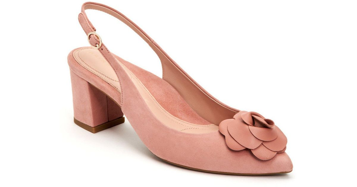 3e5a7a39678 Lyst - Taryn Rose Michelle Silky Suede Block Heel Sling Pumps in Pink -  Save 30%