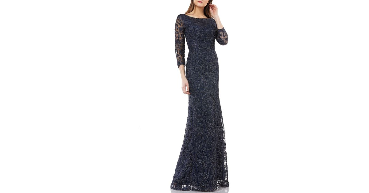 90c1472dbd1834 JS Collections Illusion Sleeve Metallic Soutache Gown in Blue - Save 2% -  Lyst