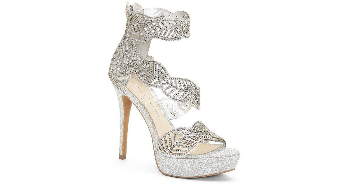 4f5de35dddbe Lyst - Jessica Simpson Bonilynn Rhinestone Detail Platform Sandals in  Metallic