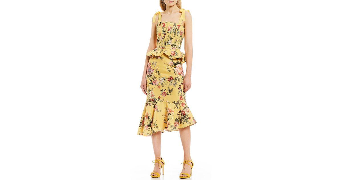 12a8147fc090e Antonio Melani Loraine Floral Print Peplum Ruffle Sleeveless Square Neck  Midi Dress - Lyst