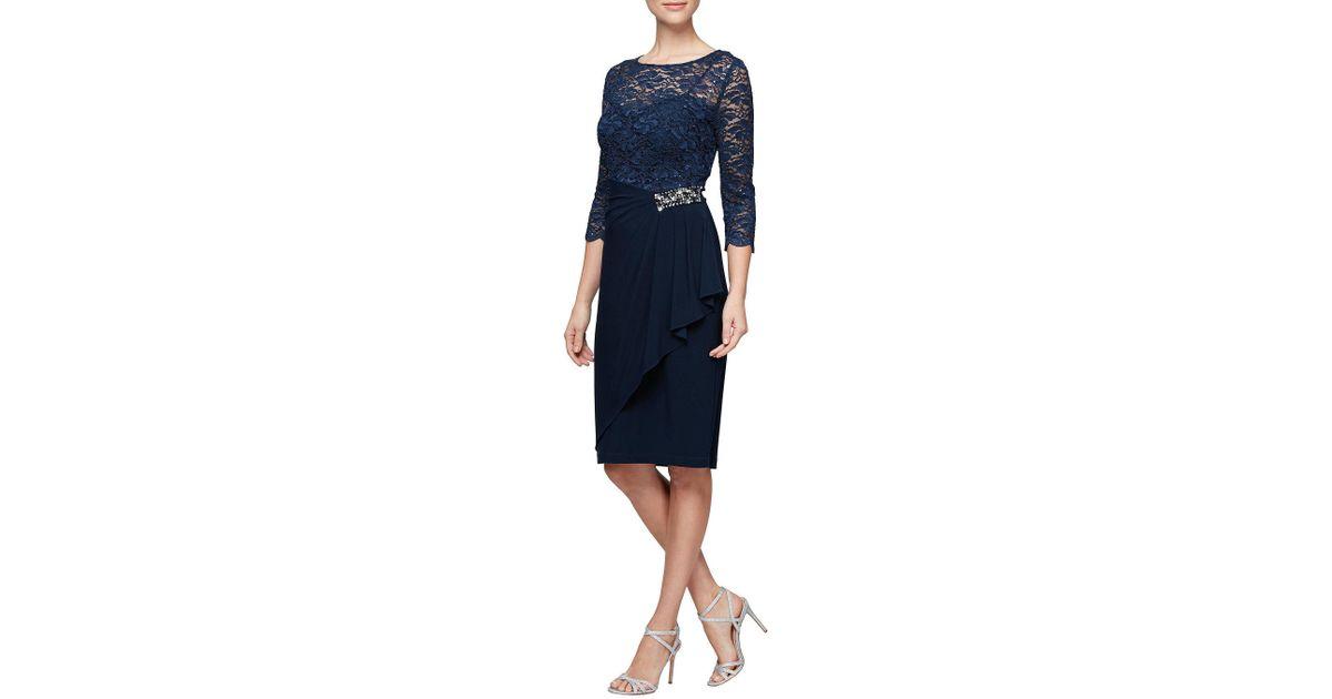 1c4d414cf6 Lyst - Alex Evenings Petite Illusion Sleeve Cascade Overlay Embellished  Waist Dress in Blue