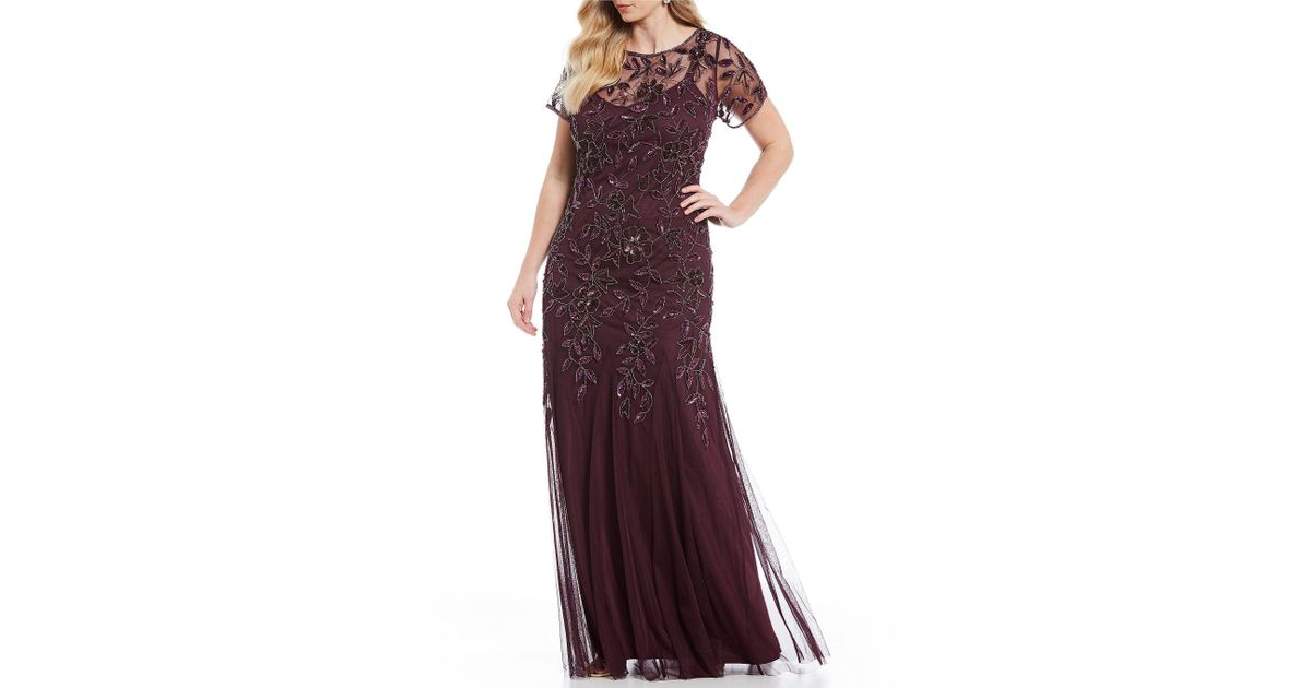 c0f08246e17 Lyst - Adrianna Papell Plus Floral Beaded Gown in Purple