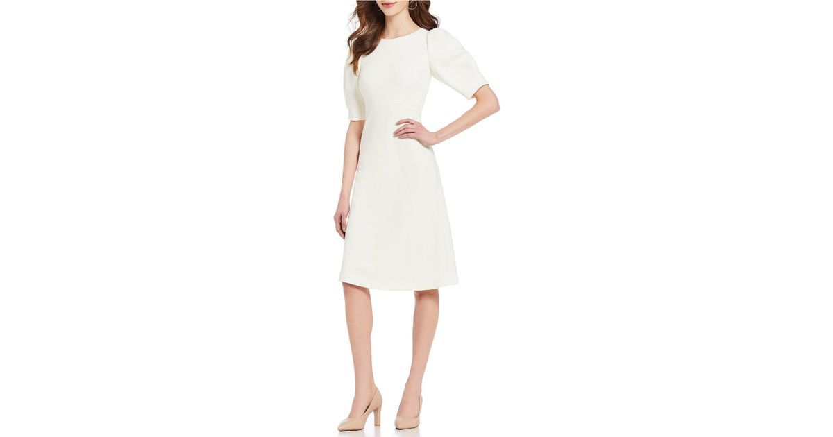 6e0634ec505 Antonio Melani Brin Puffed Shoulder A-line Midi Dress in White - Lyst