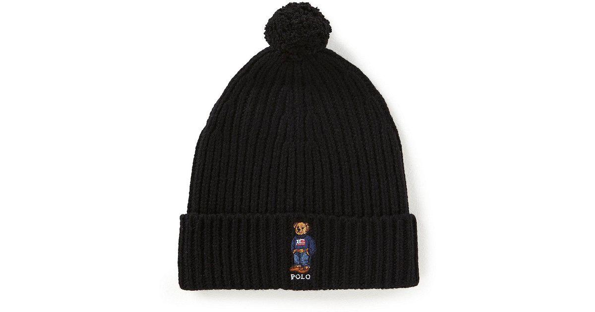 7667b061b2dab Polo Ralph Lauren American Flag Bear Cuff Hat With Pom in Black for Men -  Lyst