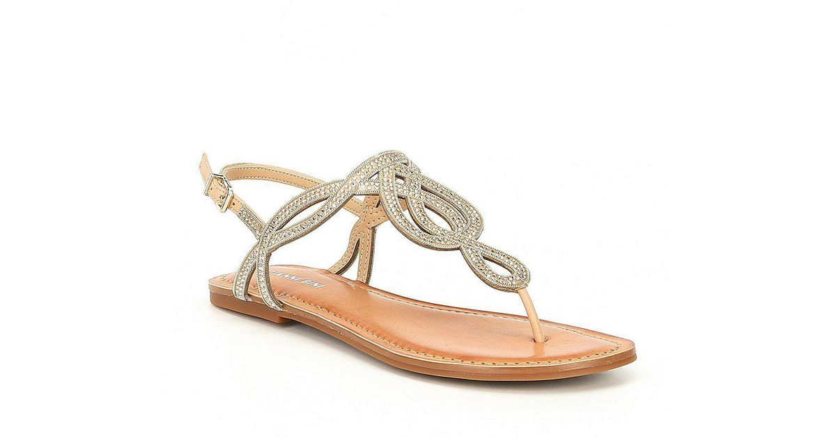b0d30c88cae2 Lyst - Gianni Bini Starlitez Jeweled Flat Sandals in Natural